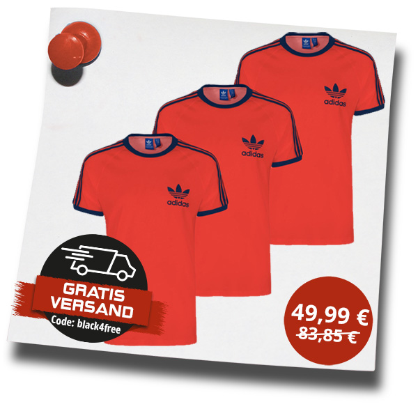 3er Pack adidas Originals 3-Stripes Trefoil T-Shirt