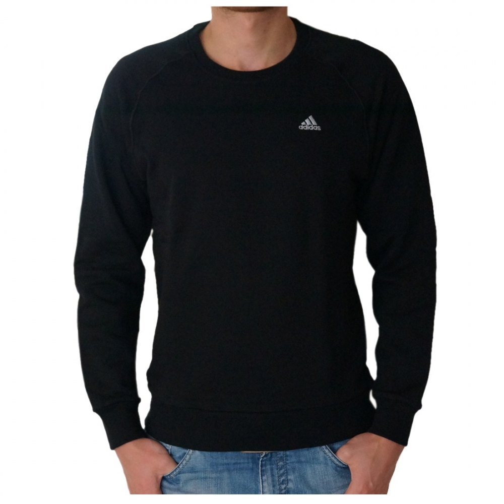 adidas essential crew herren rundhals pullover schwarz sweatshirt 34. Black Bedroom Furniture Sets. Home Design Ideas