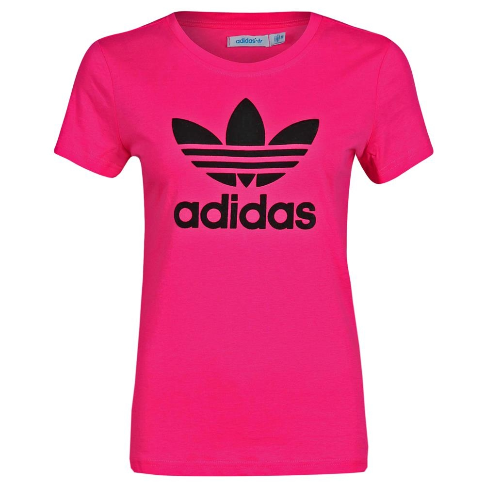 adidas originals trefoil tee flock damen t shirt pink b. Black Bedroom Furniture Sets. Home Design Ideas