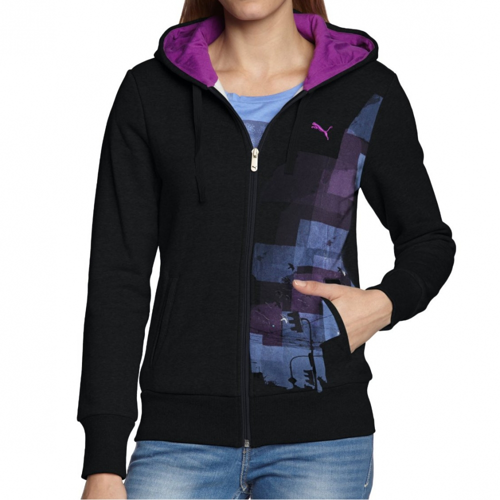 puma damen jacke sportscasual hooded sweatjacke fleece jacke schwarz. Black Bedroom Furniture Sets. Home Design Ideas