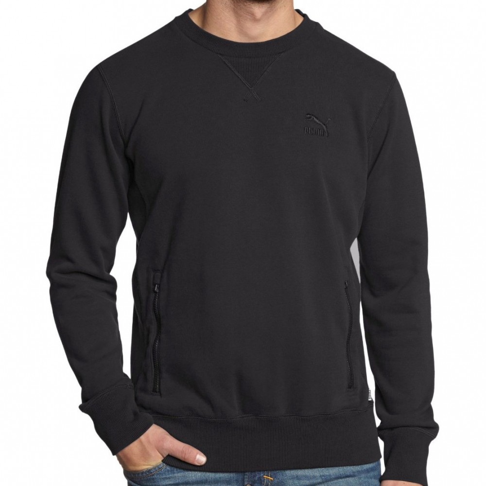 puma essential crew fleece herren rundhals pullover schwarz sweatshir. Black Bedroom Furniture Sets. Home Design Ideas
