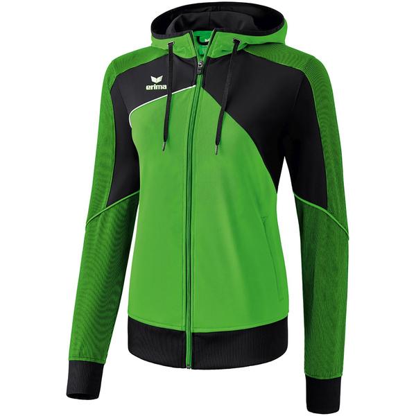 Erima Premium One 2.0 Trainingsjacke mit Kapuze Damen greenblackwhite 36