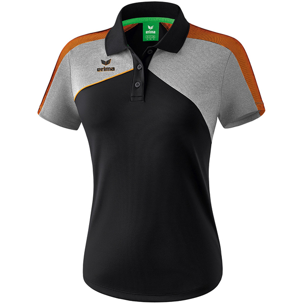 erima Premium One 2.0 Funktions Poloshirt black/grey melange/neon orange 42