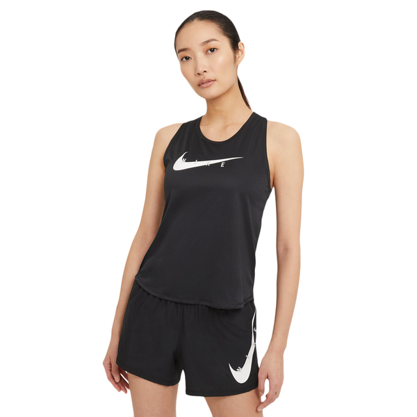 NIKE Swoosh Run Damen Lauf Tank-Top black/reflective silv M